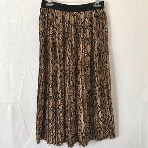 Snakeskin Pleated Midi Skirt Mittoshop